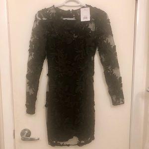Topshop Dresses - Topshop Applique Black Lace Mini Dress NWT!